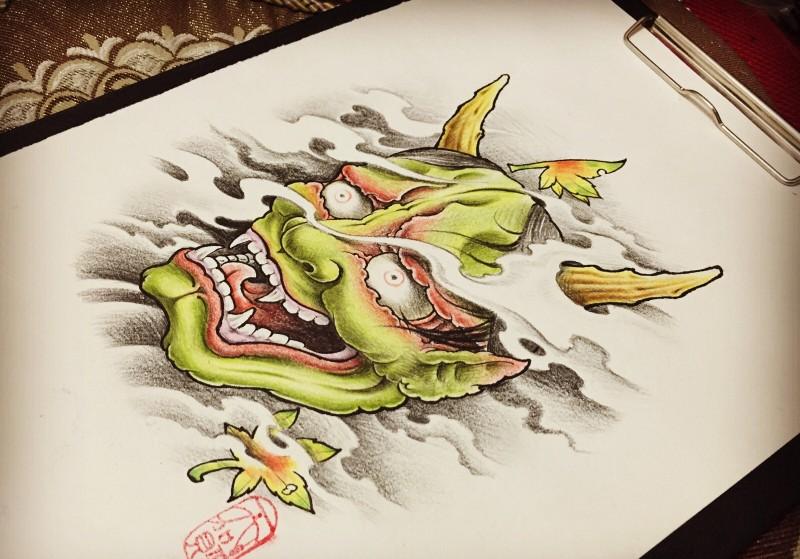 Pale green-skin devil face in grey smoke tattoo design