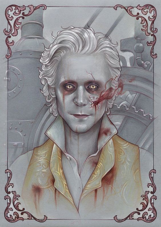 Pale vampire man wearing yellow waistcoat in curly red frame tattoo design
