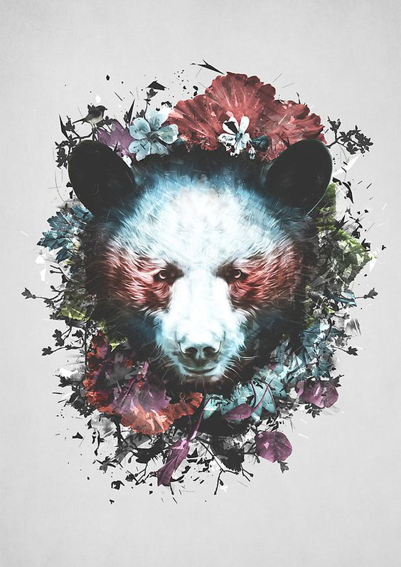Panda bear head surrounded with colorful flowers tattoo design