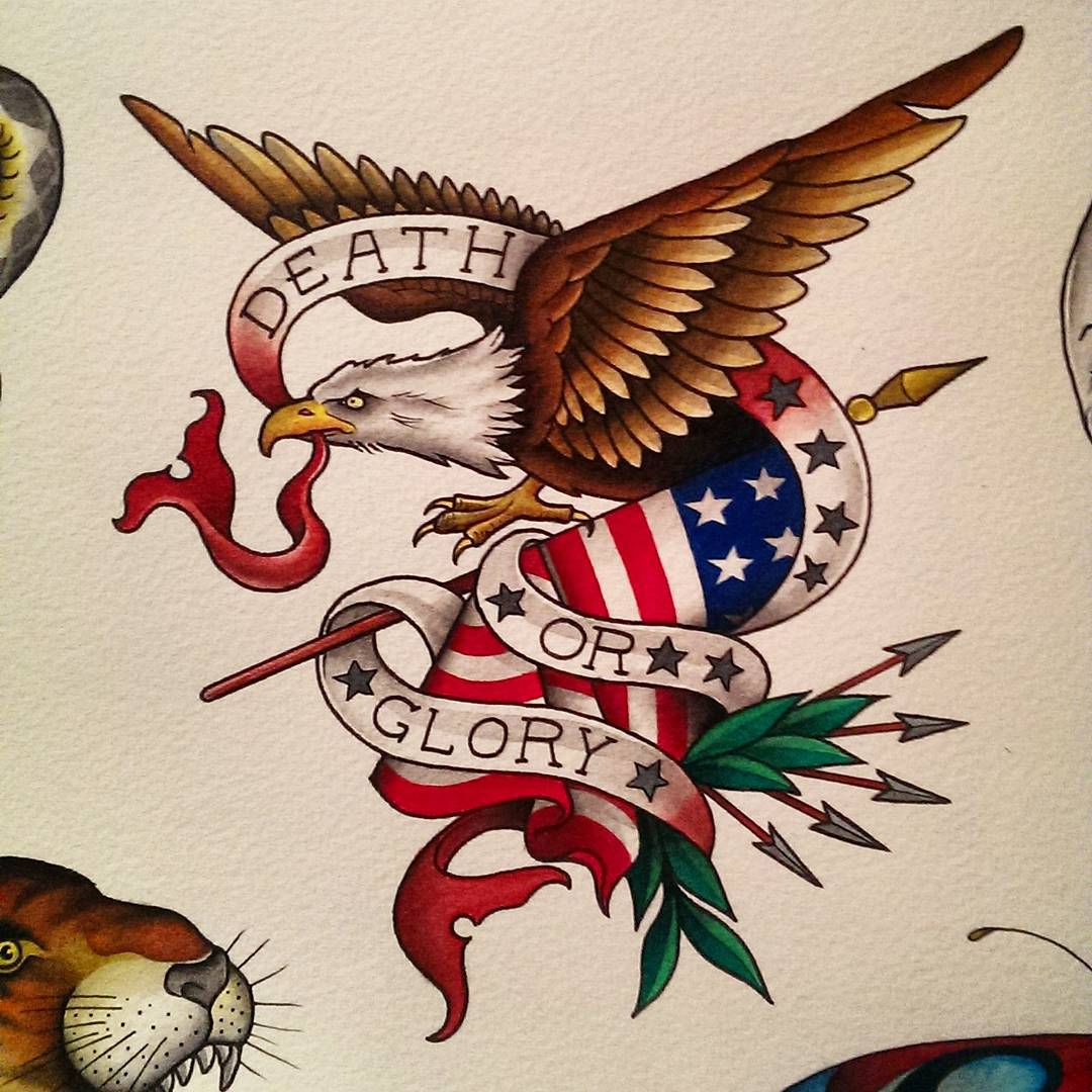 Patriotic american eagle with a banner in a beak tattoo design