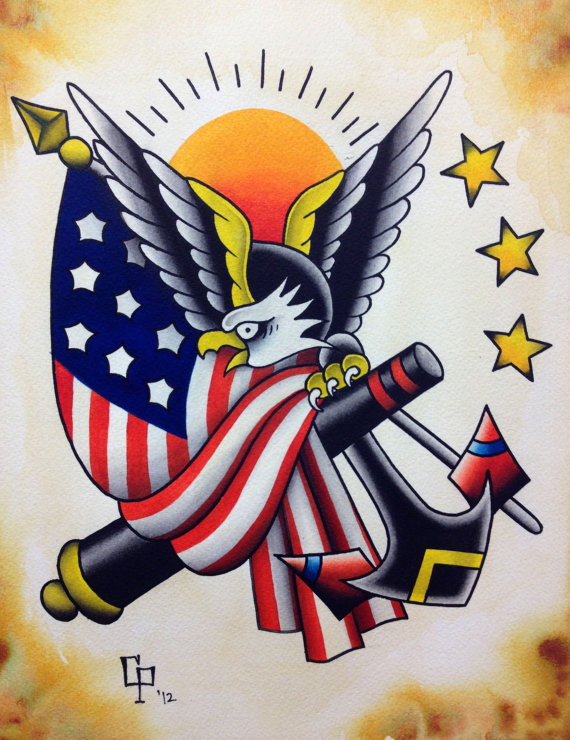 Patriotic eagle with american flag and anchor tattoo design