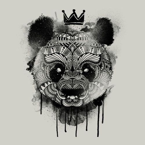 Patterned bear head in crown with smudges tattoo design