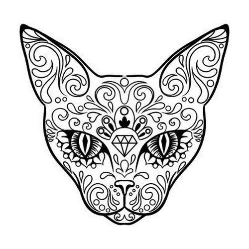 Patterned Cat Head With Diamond Sign Tattoo Design