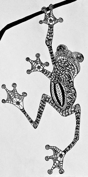 Patterned reptile holding on branch tattoo design