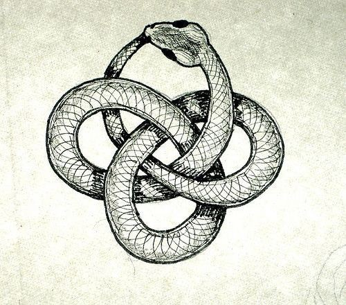 Pencil-drawn snake curled into mystic sign tattoo design