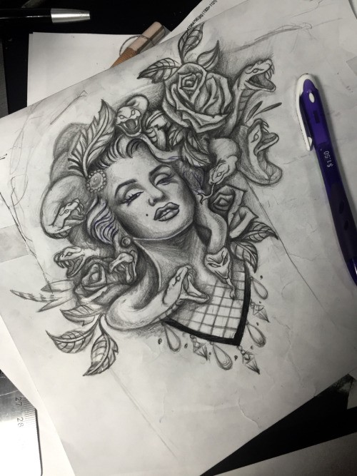 Pencilwork Marilyn Monroe medusa gorgona with flowers tattoo design