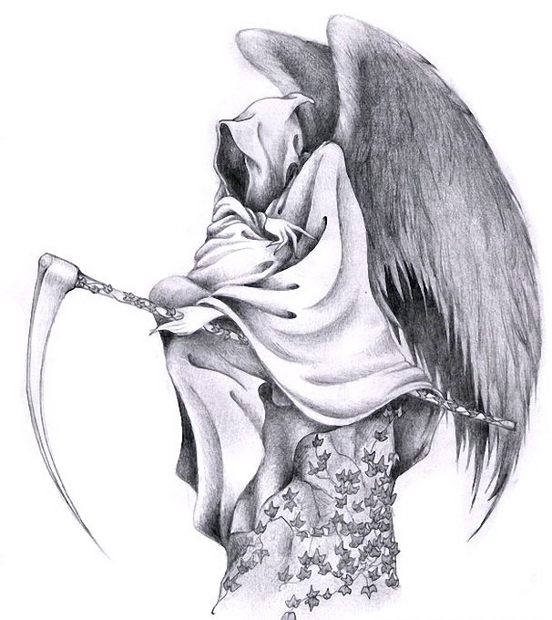 Pencilwork angel death flying by the scythe with falling leaves tattoo design