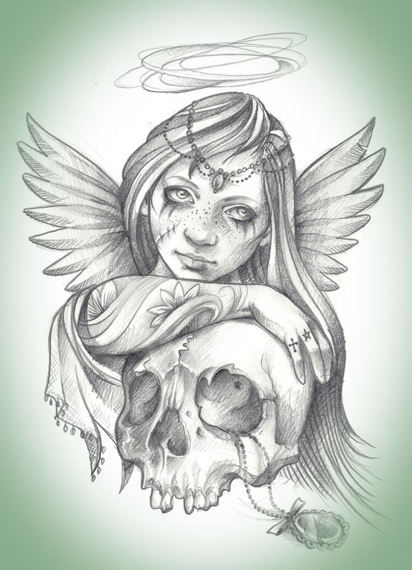 Pencilwork angel girl with a skull tattoo design