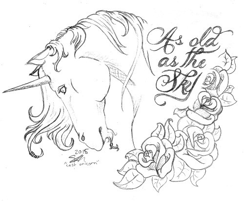 Pencilwork bowed unicorn head with roses tattoo design