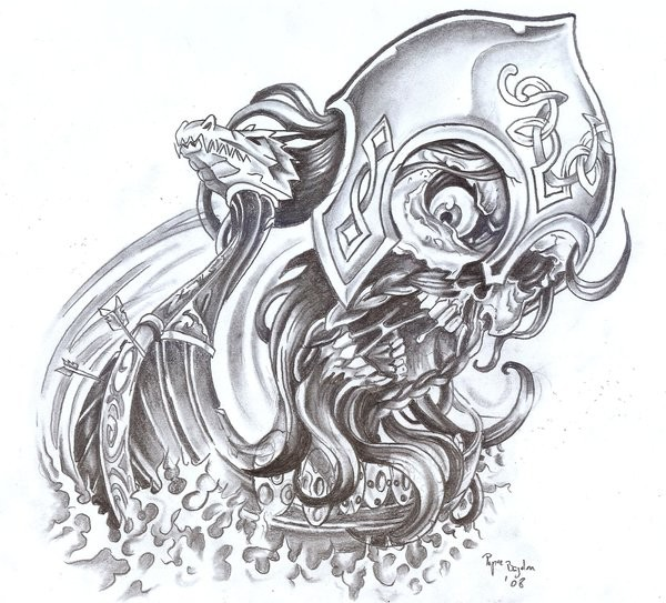 Pencilwork celtic demon viking in a helmet tattoo design by Bogdanpo