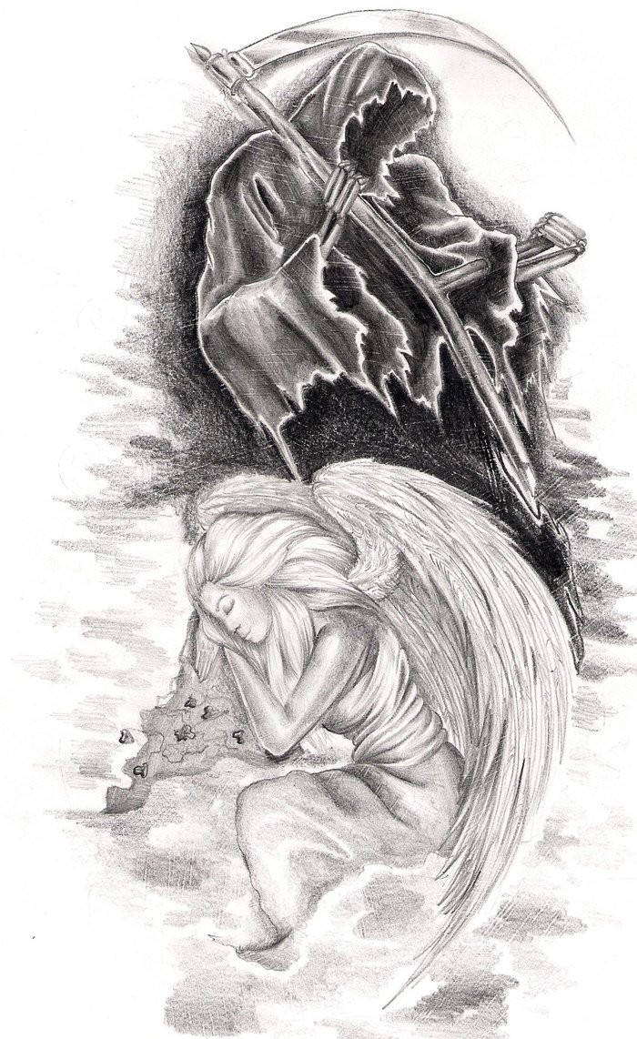 Pencilwork death and sleeping angel beneath tattoo design by Natyne