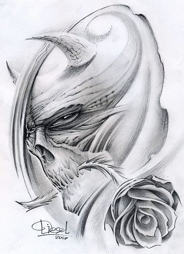 Pencilwork devil head in profile with rose flower in the mouth tattoo design