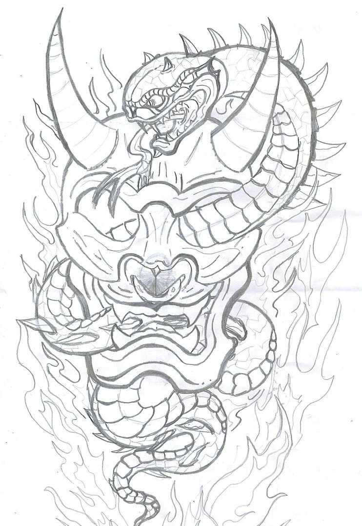 Pencilwork devil skull with entwining snake tattoo design by Jasonngt