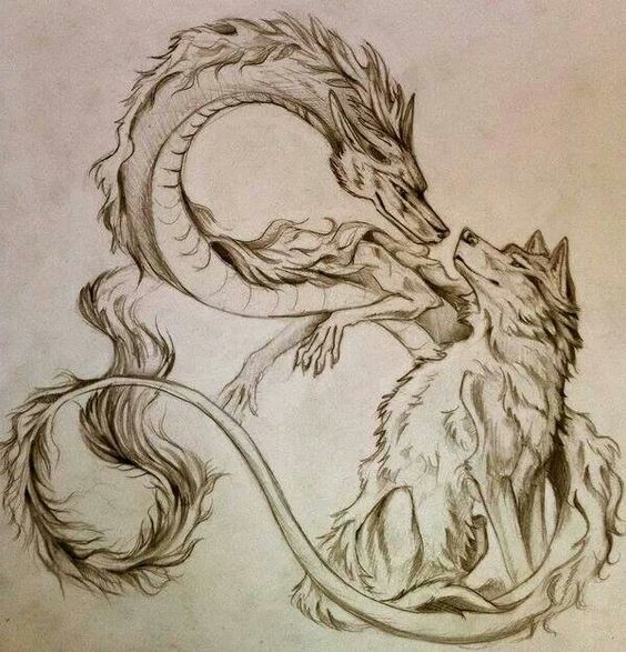 Pencilwork dragon and wolf friendship tattoo design