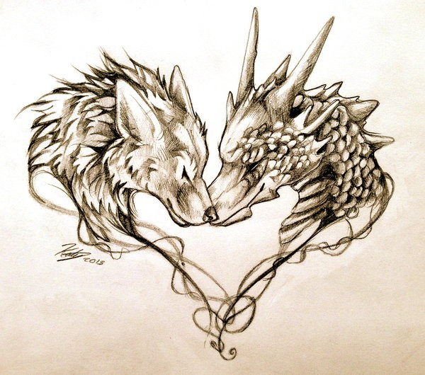 Pencilwork dragon and wolf heads friendship tattoo design by Lucky978