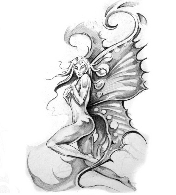 Pencilwork fairy sitting on rock tattoo design