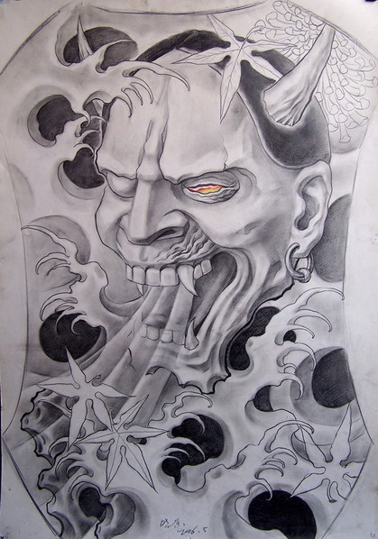 Pencilwork fire-eyed devil breathing with smoke tattoo design