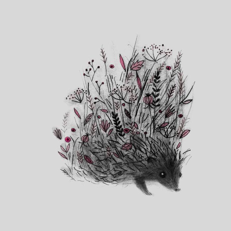 Pencilwork hedgehog with pink flower spines tattoo design