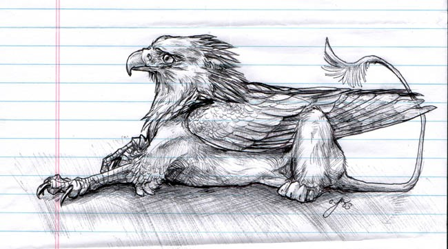 Pencilwork lying dreaming griffin tattoo design