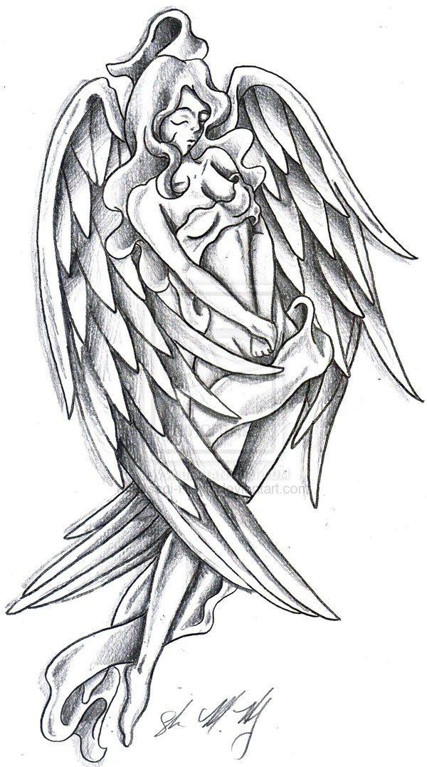 Pencilwork pin up angel tattoo design