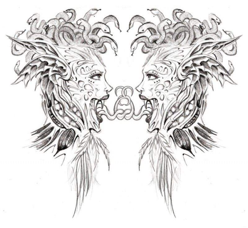 Pencilwork reflected medusa gorgona head with bounded tongues tattoo design by Mokaup