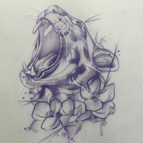 Pencilwork roaring jaguar head with flowers tattoo design