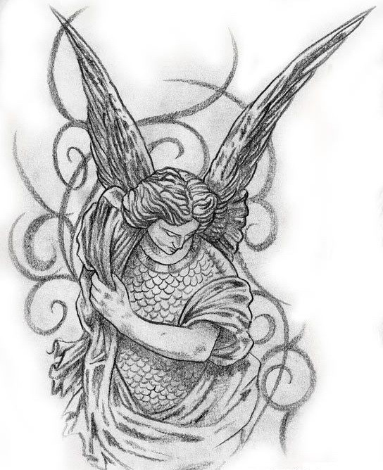Pencilwork scale-armoured angel with curles tattoo design