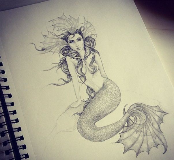 Pencilwork sitting mermaid with flippers on head tattoo design