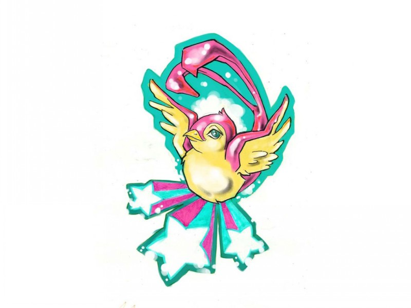Pink-and-yellow sparrow on turquoise starred background tattoo design