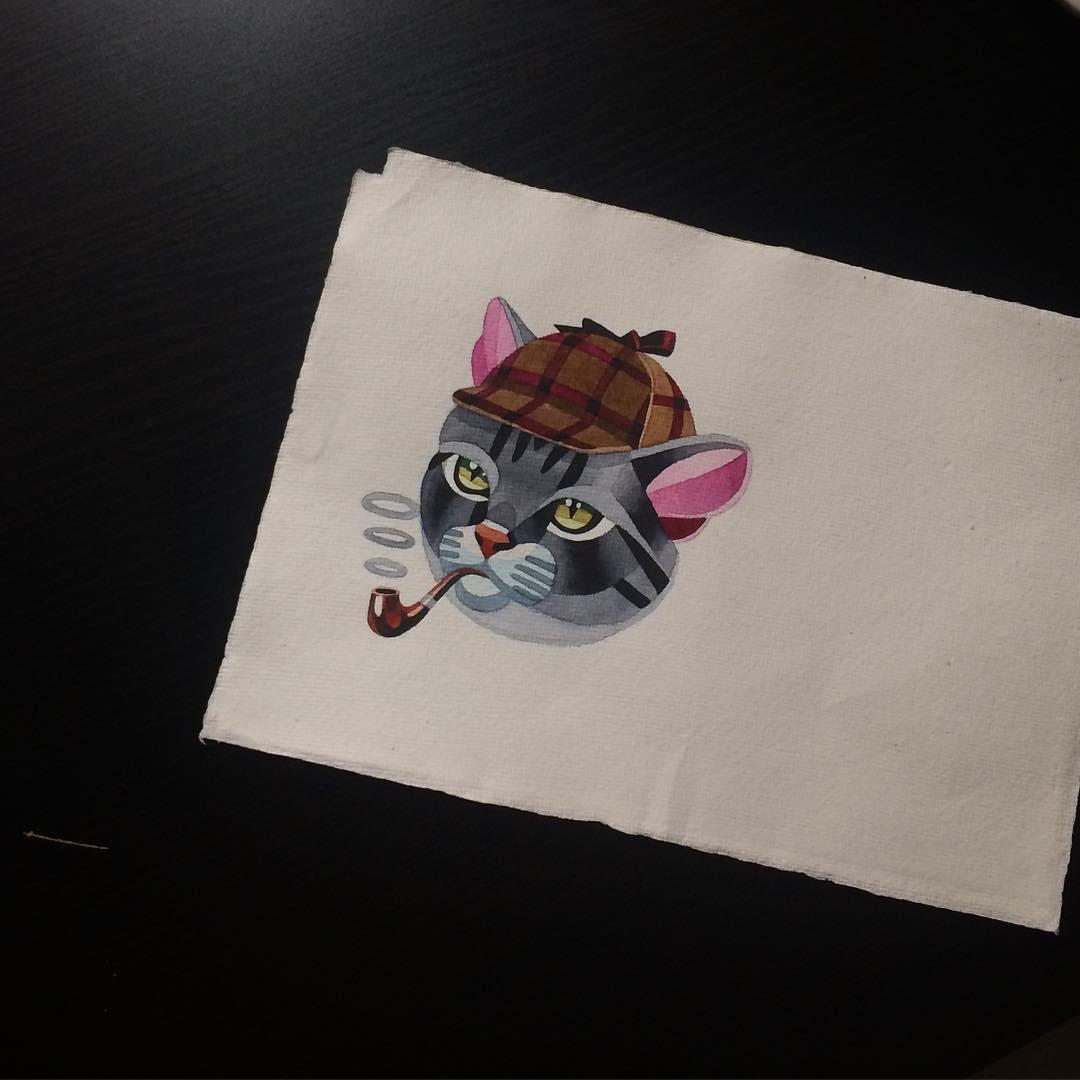 Pink-eared Sherlok Cat in a cap smoking a tibacco pipe tattoo design by Sasha Unisex
