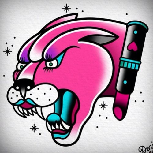 Pink old school panther head and lipstick tattoo design ...