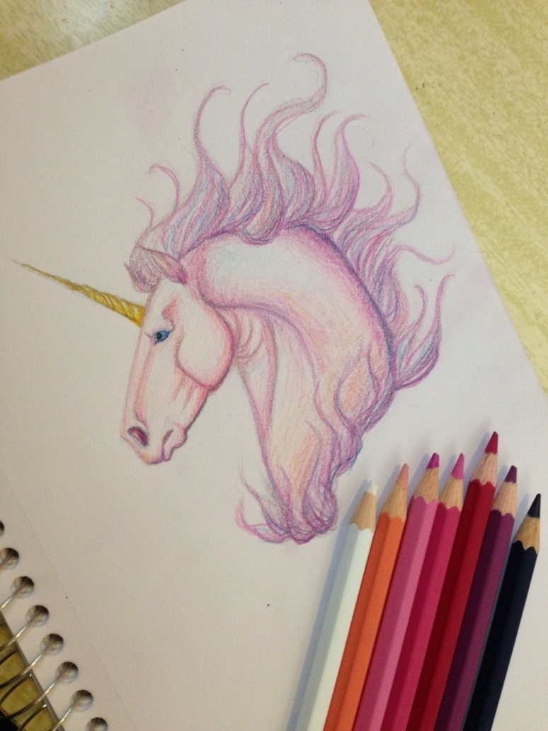 Pink pencilwork unicorn head with golden horn tattoo design by Mcicereamers