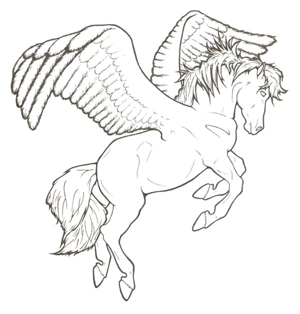 Plain beautiful outline pegasus tattoo design by Requay