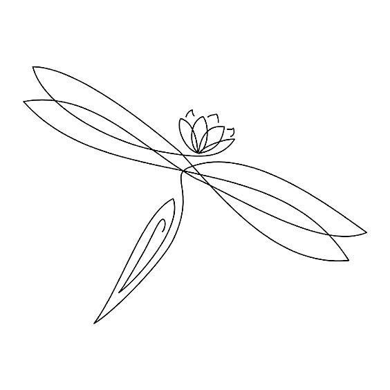 Plain black-line dragonfly with lotus head tattoo design