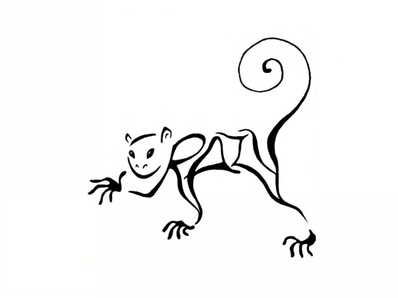 Plain black-line monkey with swirly tail tattoo design