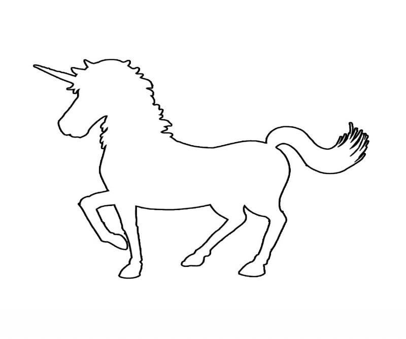Plain black-line unicorn silhouette tattoo design