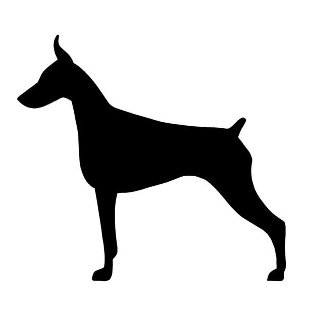 Plain full-black doberman tattoo design