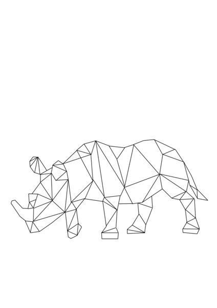 Plain geometric rhino tattoo design