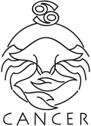 Plain outline crab with zodiac symbol and cencer word tattoo design