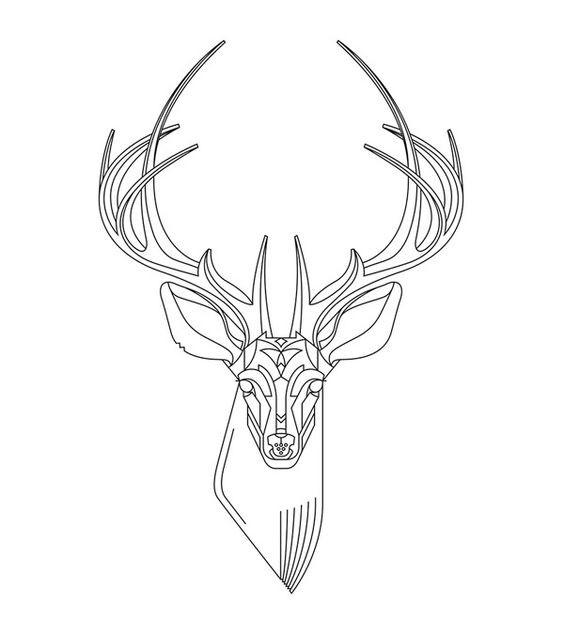 Plain outline deer tattoo design - Tattooimages.biz