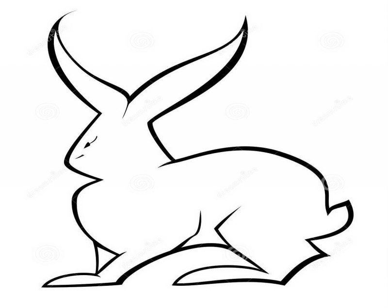 Plain outline hare silhouette tattoo design