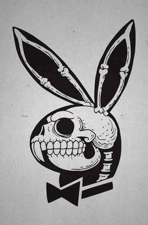 Playboy rabbit logo with skeleton inside tattoo design