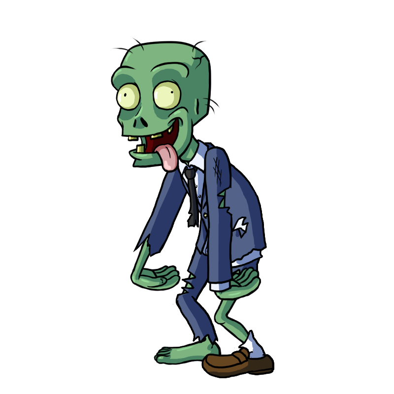 Pleased animated colorful zombie in a blue suit tattoo design