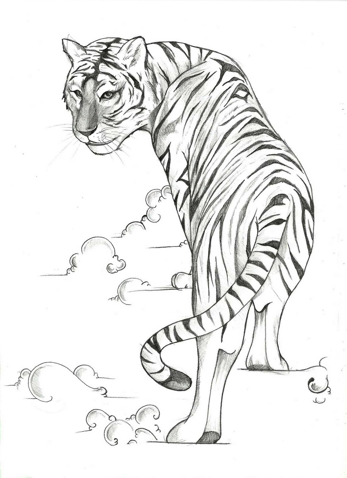 Pleased black-and-white tiger walking throuth white smoke tattoo design