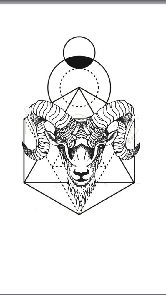 Pleased black-ink ram with large geometric drawing tattoo design