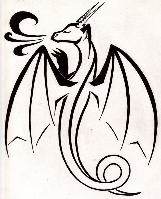 Pleased black cartoon dragon breathing with smoke tattoo design