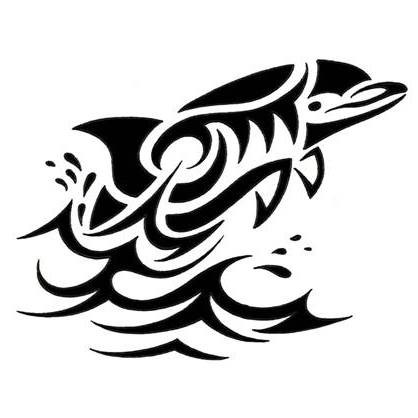 Pleased black tribal dolphin rushing out of water tattoo design