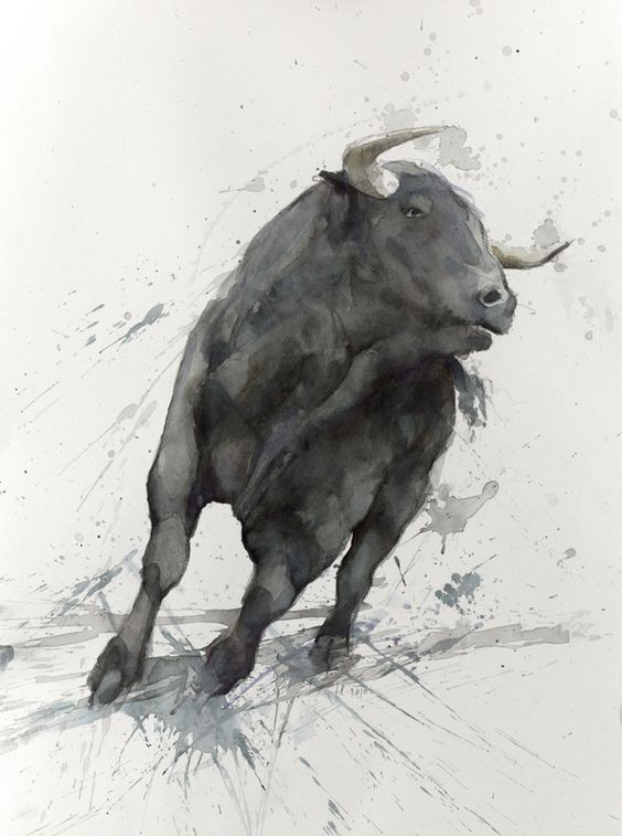 Pleased black watercolor running bull tattoo design