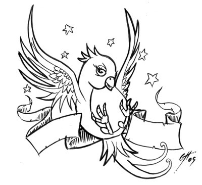 Pleased cartoon uncolored sparrow and ribbon with stars tattoo design