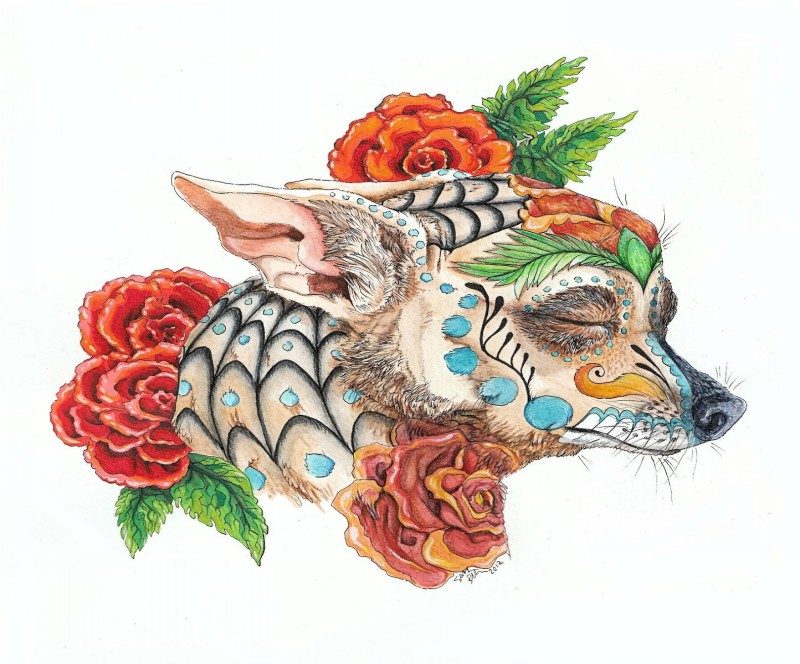 Pleased colored dog with web print surrounded with roses tattoo design